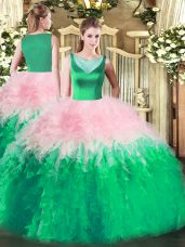Discount Multi-color Tulle Side Zipper Quinceanera Gown Sleeveless Floor Length Beading and Ruffles