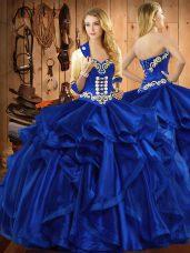 High Class Royal Blue Organza Lace Up 15 Quinceanera Dress Sleeveless Floor Length Embroidery and Ruffles