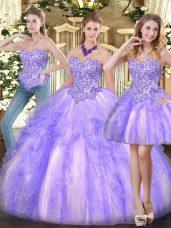 High End Lavender Sleeveless Floor Length Appliques and Ruffles Zipper Sweet 16 Quinceanera Dress