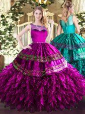 Beauteous Fuchsia Organza and Taffeta Zipper Scoop Sleeveless Floor Length Ball Gown Prom Dress Beading and Ruffles