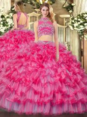 Sweet Sleeveless Backless Floor Length Beading and Ruffled Layers Quince Ball Gowns