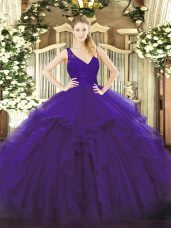 Trendy Purple Organza Backless V-neck Sleeveless Floor Length 15th Birthday Dress Beading and Lace and Ruffles