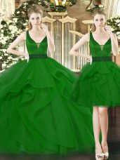 Green Straps Lace Up Beading and Ruffles Quinceanera Gowns Sleeveless