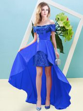 Ankle Length Blue Homecoming Dress Off The Shoulder Short Sleeves Lace Up