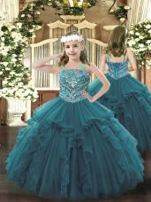 Beauteous Floor Length Teal Child Pageant Dress Straps Sleeveless Lace Up