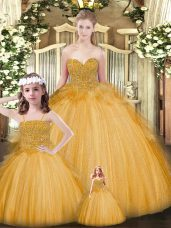 Designer Floor Length Lace Up Quinceanera Gowns Gold for Military Ball and Sweet 16 and Quinceanera with Beading and Ruffles
