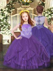 Amazing Floor Length Purple Little Girl Pageant Gowns Scoop Sleeveless Zipper