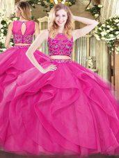 New Style Scoop Sleeveless Tulle 15th Birthday Dress Beading and Ruffles Zipper