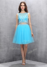 Popular Scoop Sleeveless Backless Blue Organza