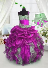 Custom Design Spaghetti Straps Sleeveless Organza Little Girls Pageant Gowns Beading and Ruffles and Pick Ups Lace Up