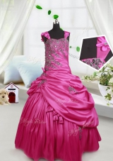Super Pick Ups Ball Gowns Little Girls Pageant Gowns Hot Pink Straps Satin Sleeveless Floor Length Lace Up