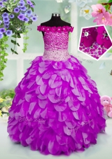 Customized Lavender Ball Gowns Organza Off The Shoulder Sleeveless Beading and Hand Made Flower Floor Length Lace Up Little Girls Pageant Gowns