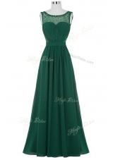 Custom Designed Scoop Chiffon Sleeveless Floor Length Homecoming Dress and Beading and Ruching