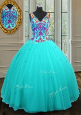 Flirting Tulle V-neck Sleeveless Zipper Beading 15 Quinceanera Dress in Aqua Blue