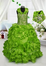 Halter Top Sleeveless Floor Length Beading and Ruffles Zipper Little Girls Pageant Gowns with Olive Green