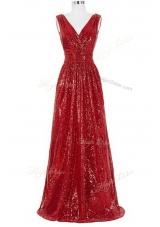 Sequins V-neck Sleeveless Brush Train Zipper Formal Dresses Red Sequined