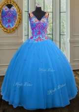 Super Straps Straps Sequins Blue Sleeveless Tulle Zipper Sweet 16 Quinceanera Dress for Military Ball and Sweet 16 and Quinceanera