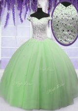 Beauteous Apple Green Ball Gowns Off The Shoulder Short Sleeves Tulle Floor Length Lace Up Beading Quinceanera Gown