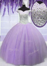 Off the Shoulder Short Sleeves Tulle Floor Length Lace Up Quinceanera Gowns in Lavender for with Beading