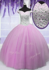 Shining Off the Shoulder Short Sleeves Tulle Floor Length Lace Up Quinceanera Dress in Lilac for with Beading