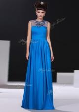 Artistic Scoop Beading and Ruching Dress for Prom Blue Zipper Sleeveless Floor Length