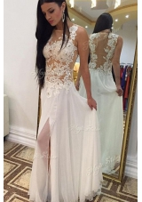 Chic Floor Length Zipper Evening Dress White and In for Prom and Party with Beading and Lace