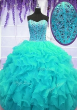 High Class Organza Sweetheart Sleeveless Lace Up Beading and Ruffles Vestidos de Quinceanera in Aqua Blue
