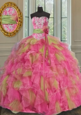 Cheap Sleeveless Organza Floor Length Lace Up Quinceanera Gown in Multi-color for with Beading and Ruffles and Sequins