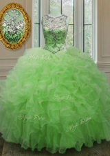 Gorgeous Ball Gowns Scoop Sleeveless Organza Floor Length Lace Up Beading and Ruffles Quinceanera Dress