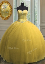 Great Gold Sleeveless Beading and Sequins Floor Length Quinceanera Dress