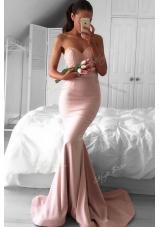 Mermaid Pink Elastic Woven Satin Zipper Prom Dress Sleeveless Sweep Train Lace