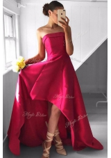 Sleeveless Satin Asymmetrical Zipper Prom Gown in Fuchsia for with Pleated