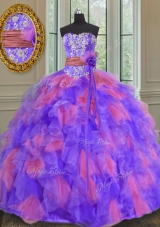 Stylish Floor Length Multi-color Sweet 16 Dress Organza Sleeveless Beading and Appliques and Ruffles and Sashes|ribbons and Hand Made Flower