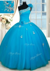 Exquisite One Shoulder Zipper Up Quinceanera Dress with Beading and Handmade Flowers