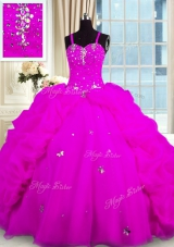 Beautiful Sleeveless Organza Floor Length Lace Up Quinceanera Gowns in Fuchsia for with Beading and Pick Ups