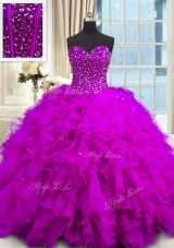Inexpensive Sequins Sweetheart Sleeveless Lace Up Quinceanera Gown Purple Organza
