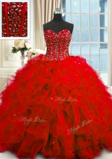 Most Popular Organza Sweetheart Sleeveless Lace Up Beading and Ruffles and Sequins 15 Quinceanera Dress in Red