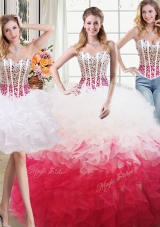 Fitting Three Piece White and Red Organza Lace Up Sweet 16 Dresses Sleeveless Floor Length Beading and Ruffles