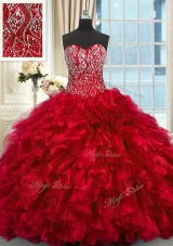 Red Organza Lace Up Sweet 16 Quinceanera Dress Sleeveless Brush Train Beading and Ruffles