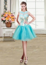 Scoop See Through Sleeveless Mini Length Beading Zipper Pageant Dress Womens with Aqua Blue