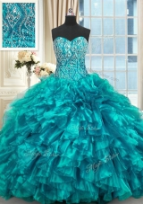 Teal Sleeveless Beading and Ruffles Lace Up Quinceanera Dresses