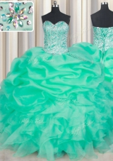 Attractive Pick Ups Floor Length Apple Green Ball Gown Prom Dress Sweetheart Sleeveless Lace Up