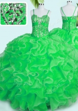 Eye-catching Spaghetti Straps Sleeveless Quinceanera Gown Floor Length Beading and Ruffles Green Organza
