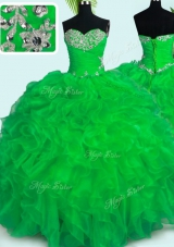 Fancy Organza Sweetheart Sleeveless Lace Up Beading and Ruffles Quinceanera Dress in Green