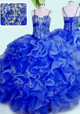 Glamorous Floor Length Blue Quinceanera Dresses Spaghetti Straps Sleeveless Lace Up