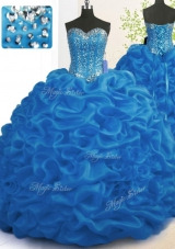 Ideal Royal Blue Ball Gowns Sweetheart Sleeveless Organza With Brush Train Lace Up Beading and Ruffles Quinceanera Gowns