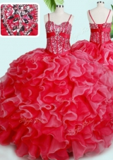 Red Lace Up Quinceanera Gowns Beading and Ruffles Sleeveless Floor Length