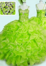 Yellow Green Lace Up Spaghetti Straps Beading and Ruffles Quinceanera Dresses Organza Sleeveless