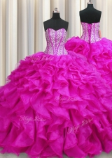 Custom Fit Visible Boning Sweetheart Sleeveless Sweet 16 Dress Brush Train Beading and Ruffles Fuchsia Organza