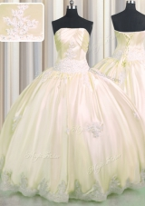 Decent Champagne Ball Gowns Strapless Sleeveless Taffeta Floor Length Lace Up Beading and Appliques 15 Quinceanera Dress